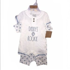 Rae Dunn DADDY'S ROOKIE Romper Set